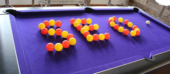 SEO spelled out in balls on the pool table - Sleeping Giant Media