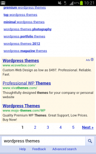 Screenshot of mobile search engine results page