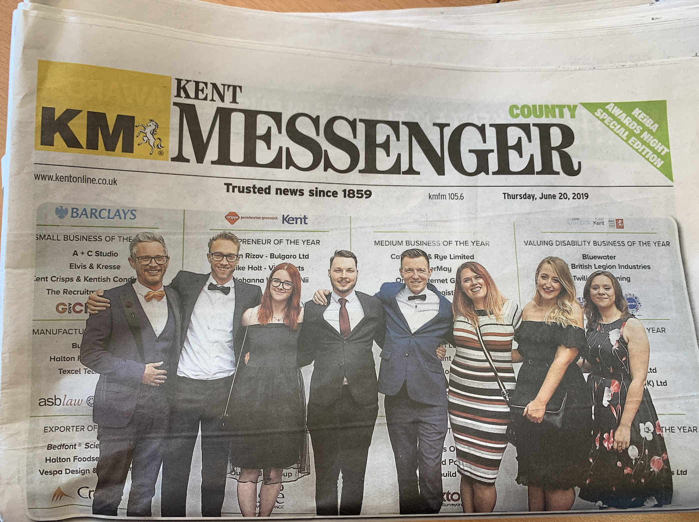 KEiBA Sleeping Giant Media front page of Kent Messenger