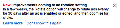 Ad rotation settings in Google adwords: Rotate Evenly