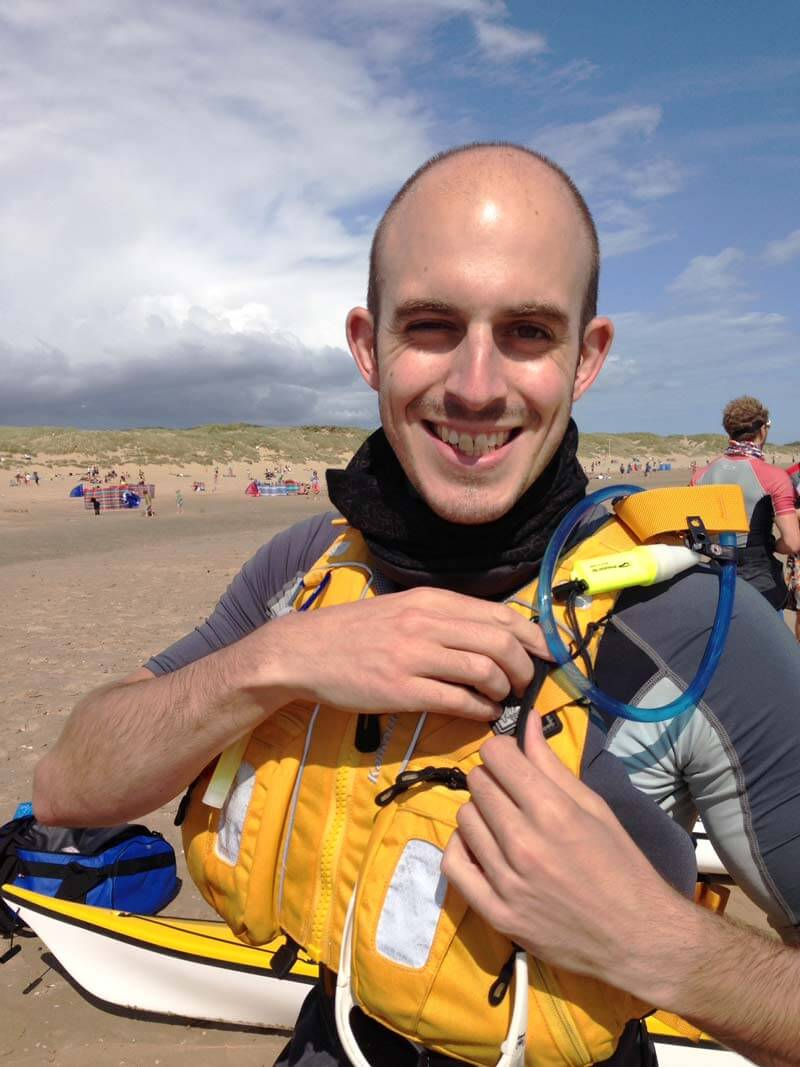 Anthony Klokkou, Sleeping Giant Media client services director, in buoyancy aid at Camber Sands about to embark on 150 mile charity kayak around the Kent coast