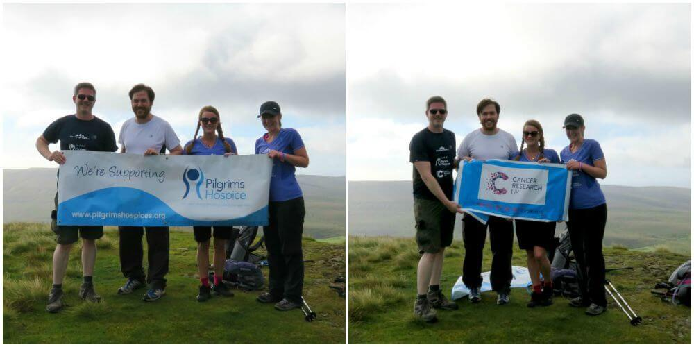 At the top of peak 1 - Sleeping Giant Media fundraising for Pilgrims Hospices and Cancer Research UK