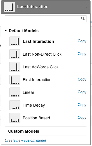 Tracking attribution models from Google Analytics