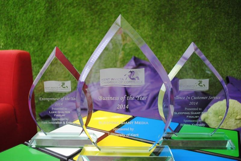 Sleeping Giant Media's three trophies from the 2014 Kent Invicta Chamber Awards. We won Business of the Year.
