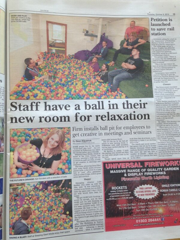 Sleeping Giant Media ball pit featured in the Folkestone Herald