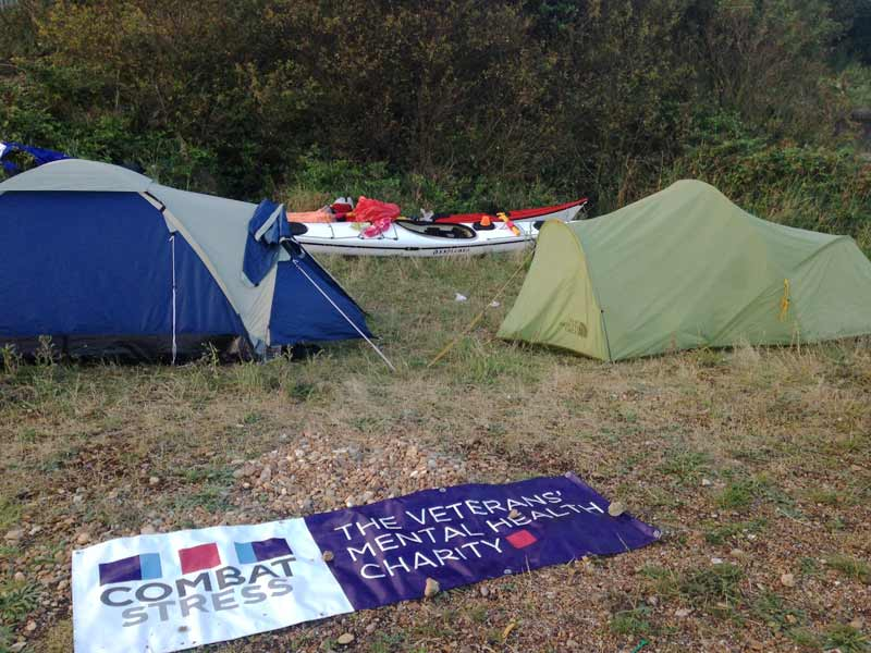 Camping with Combat Stress banner Whitstable during Kent coast kayaking challenge