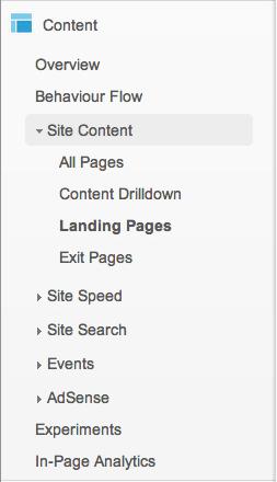 Content > Site Content > Landing Pages