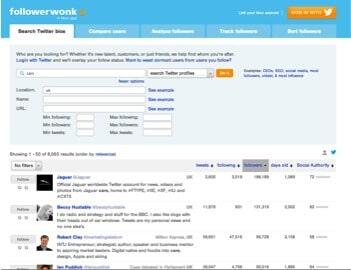 Followerwonk screenshot - useful tool for blogger outreach
