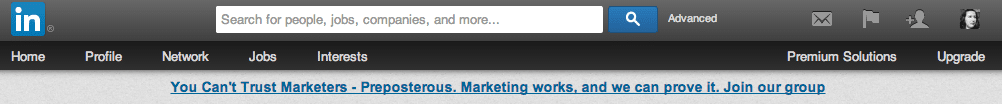 LinkedIn text ad on homepage