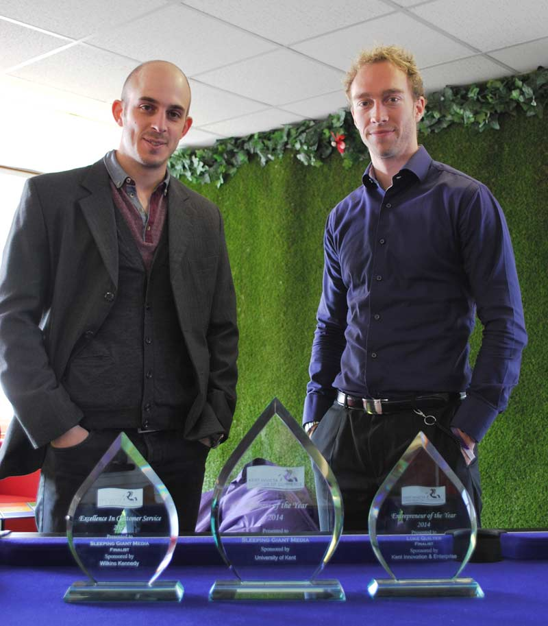 Luke Quilter and Anthony Klokkou with Sleeping Giant Media's awards from the Kent Invicta Chamber Awards 2014