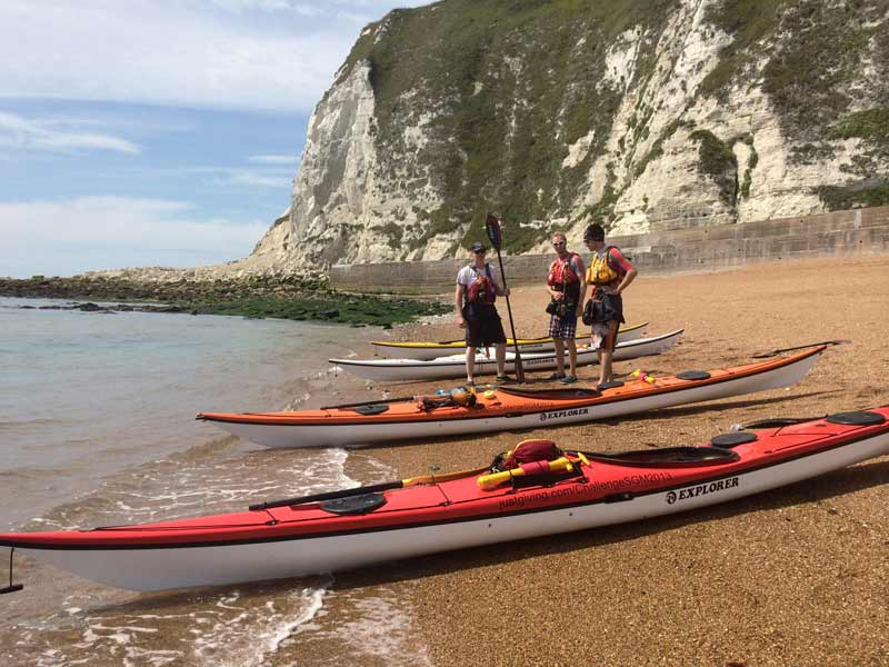 On beach with kayaks just before Dover
