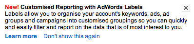 Google adwords message about update to labels - customised reporting