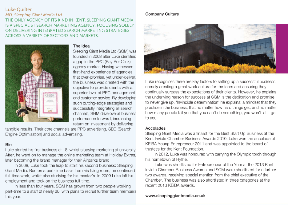 Luke Quilter featured in Inside Kent Magazine Sep/Oct 2013 Kent Entrepreneur