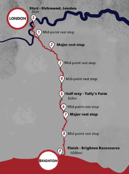 London 2 Brighton 100k challenge route map