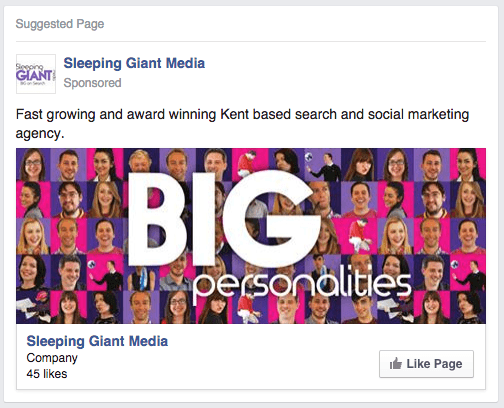 Example of a newsfeed Facebook advert