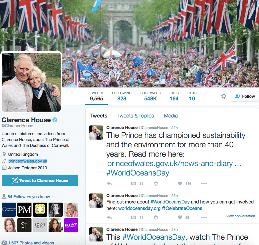 Clarence House Twitter