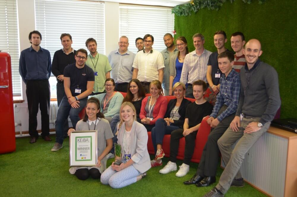 Sleeping Giant Media won the Customer Service and Commitment Award at KEiBA 2014 - group photo in the office
