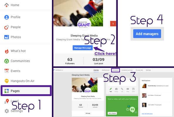 Step-by-step add manager to Google Plus
