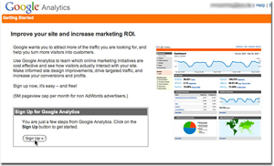 The Google Analytics Signup Page