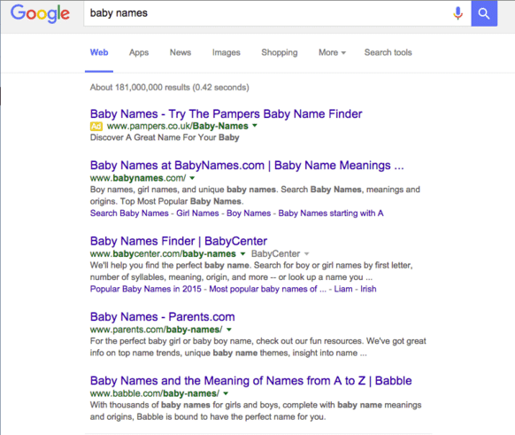 baby name google results