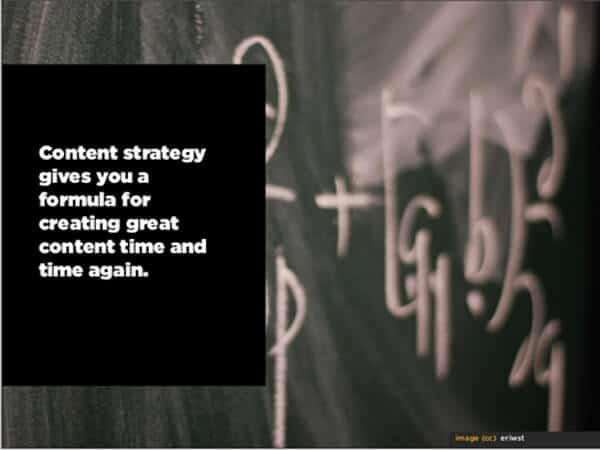 Content strategy gives you a formula for creating great content time and time again