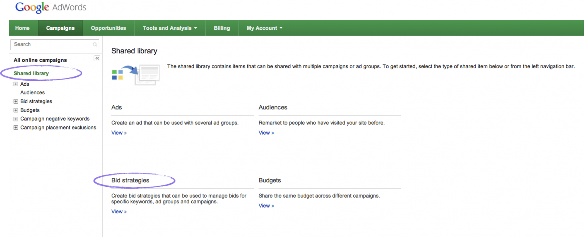 How to find enhanced campaigns bid strategies section in AdWords