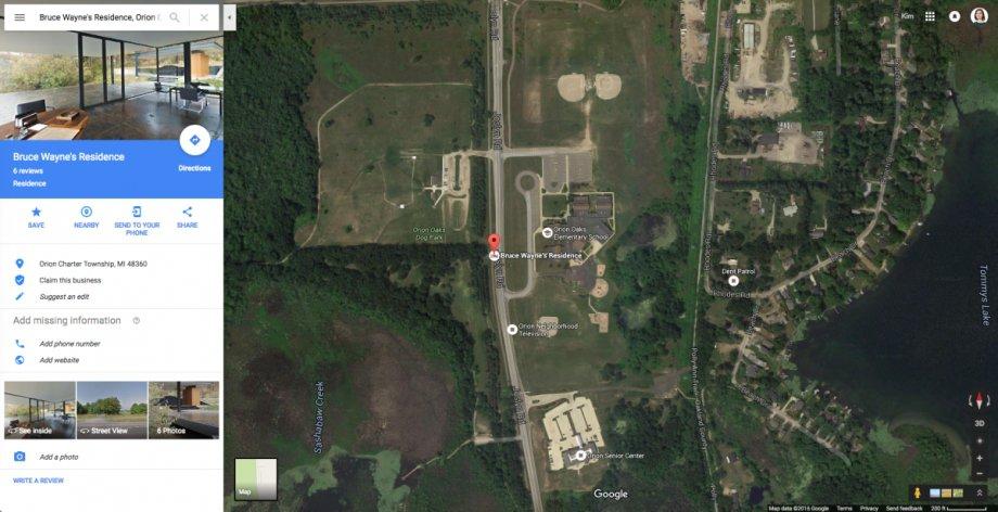 Google Maps view of Batman's Batcave